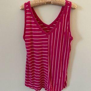 Maurices Pink w/White Stripe Tank Top - XL